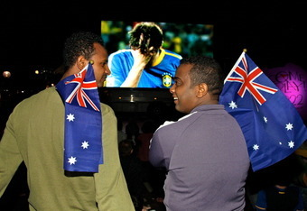 SYDNEY, AUSTRALIA - DECEMBER 03:  Football fans gather at a public live broadcast of the announcement of the host country for the 2018 and 2022 FIFA World Cup at the Overseas Passenger Terminal Circular Quay on December 3, 2010 in Sydney, Australia. Austr