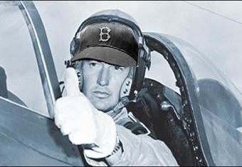 Feb 16, 1953 – Marine pilot Ted Williams shot down in Korea (Courtesy of http://www.examiner.com/history-in-baltimore/celebrity-soldiers-real-and-imagined - Red Sox hat added for effect)