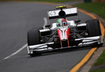 MELBOURNE, AUSTRALIA - MARCH 26:  Vitantonio Liuzzi of Italy and Hispania Racing Team drives during qualifying for the Australian Formula One Grand Prix at the Albert Park Circuit on March 26, 2011 in Melbourne, Australia.  (Photo by Robert Cianflone/Gett