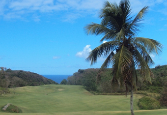 The fifth hole- perfectly paradise except for the 3-tier green.
