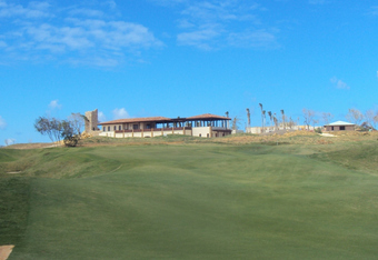 Brother Charlie's version of the 6th hole- a par 5 with the clubhouse perched above the green.