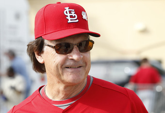 February 17, 2011: Tony LaRussa shows his grin in Jupiter, Fla.  Maybe he was thinking about Boggs—his secret weapon.