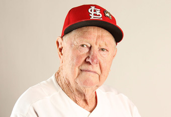 February 24, 2011: Red Schoendienst poses for a photo in Jupiter, Fla.  He was one of the best Cardinals infielders ever.
