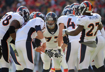 KANSAS CITY, MO - DECEMBER 05:  Chris Kuper #73 of the Denver Broncos in action during the game against the Kansas City Chiefs on December 5, 2010 at Arrowhead Stadium in Kansas City, Missouri.  (Photo by Jamie Squire/Getty Images)