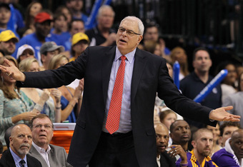 DALLAS, TX - MAY 08:  Head coach Phil Jackson of the Los Angeles Lakers reacts during play against the Dallas Mavericks in Game Four of the Western Conference Semifinals during the 2011 NBA Playoffs on May 8, 2011 at American Airlines Center in Dallas, Te