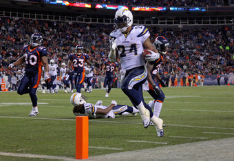 DENVER - JANUARY 02:  Running back Ryan Mathews #24 of the San Diego Chargers steps into the endzone as he rushes for a 31 yard touchdown on fourth down and one yard to go in the fourth quarter against the Denver Broncos at INVESCO Field at Mile High on J