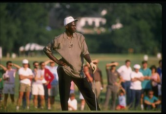 Playing golf in 1989.