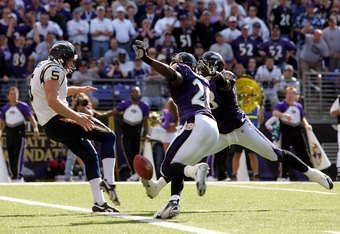 BALTIMORE - OCTOBER 01:  Punter Mike Scifres #5 of the San Diego Chargers nearly has his punt blocked during the second half of the game against the Baltimore Ravens on October 1, 2006 at M&T Bank Stadium in Baltimore, Maryland.  (Photo by Jamie Squire/Ge