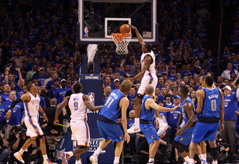 OKLAHOMA CITY, OK - MAY 23:  Kevin Durant #35 of the Oklahoma City Thunder goes up to dunk the ball in the first quarter against the Dallas Mavericks in Game Four of the Western Conference Finals during the 2011 NBA Playoffs at Oklahoma City Arena on May