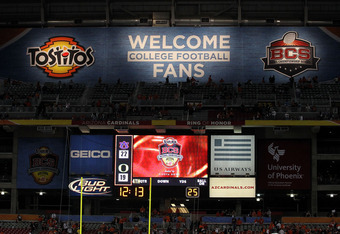 GLENDALE, AZ - JANUARY 10:  Signage is displayed at the Tostitos BCS National Championship Game between the Oregon Ducks and the Auburn Tigers at University of Phoenix Stadium on January 10, 2011 in Glendale, Arizona.  (Photo by Ronald Martinez/Getty Imag