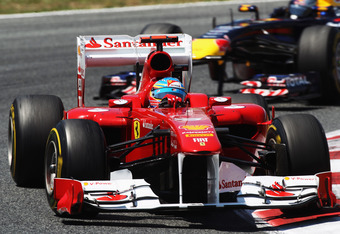 BARCELONA, SPAIN - MAY 22:  Fernando Alonso of Spain and Ferrari leads from Sebastian Vettel of Germany and Red Bull Racing during the Spanish Formula One Grand Prix at the Circuit de Catalunya on May 22, 2011 in Barcelona, Spain.  (Photo by Mark Thompson