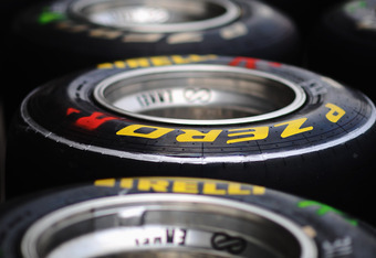 SHANGHAI, CHINA - APRIL 14:  Pirelli tyres are seen laid out in the paddock during previews to the Chinese Formula One Grand Prix at the Shanghai International Circuit on April 14, 2011 in Shanghai, China.  (Photo by Clive Mason/Getty Images)