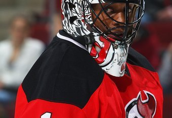 NEWARK, NJ - DECEMBER 13:  Kevin Weekes #1 of the New Jersey Devils skates against the Buffalo Sabres at the Prudential Center on December 13, 2008 in Newark, New Jersey. The Sabres defeated the Devils 4-2.  (Photo by Mike Stobe/Getty Images)