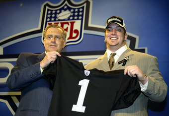 NEW YORK - APRIL 24:  Robert Gallery poses with NFL commissioner Paul Tagliabue during the 2004 NFL Draft on April 24, 2004 at Madison Square Garden in New York City. Gallery was selected the 2nd draft pick overall by the Oakland Raiders.  (Photo by Chris