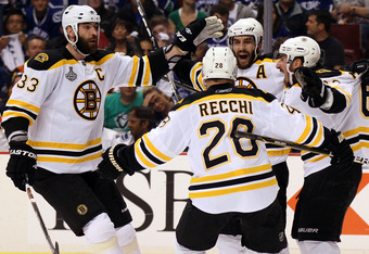 Patrice Bergeron celebrating the opening, and Game Winning Goal