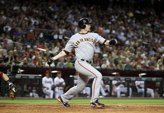 PHOENIX, AZ - JUNE 14:  Aubrey Huff #17 of the San Francisco Giants bats against the Arizona Diamondbacks during the Major League Baseball game at Chase Field on June 14, 2011 in Phoenix, Arizona. The Giants defeated the Diamondbacks 6-5.  (Photo by Chris