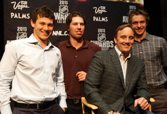 LAS VEGAS, NV - JUNE 21:  (L-R) Jeff Skinner of the Carolina Hurricanes, Logan Couture of the San Jose Sharks, comedian Jay Mohr and Michael Grabner of the New York Islanders pose at the 2011 NHL Awards nominee media availability at the Palms Casino Resor