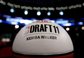 NEWARK, NJ - JUNE 23:  A detail of a basketball marking the table where Kemba Walker will sit in the green room during the 2011 NBA Draft at the Prudential Center on June 23, 2011 in Newark, New Jersey.  NOTE TO USER: User expressly acknowledges and agree