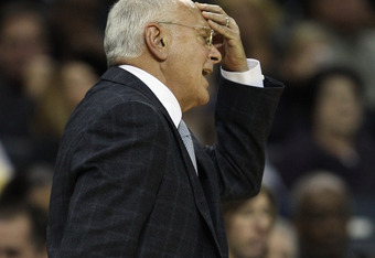 CHARLOTTE, NC - DECEMBER 11:  Head coach Larry Brown of the Charlotte Bobcats reacts against the Boston Celtics during their game at Time Warner Cable Arena on December 11, 2010 in Charlotte, North Carolina. NOTE TO USER: User expressly acknowledges and a