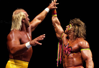 Hulk Hogan vs Ultimate Warrior at Wrestlemania VI. Hogan was close to winning the Intercontinental Title back then