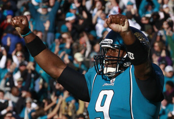 JACKSONVILLE, FL - DECEMBER 12:  Quarterback David Garrard #9 of the Jacksonville Jaguars celebrates following the game against the Oakland Raiders at EverBank Field on December 12, 2010 in Jacksonville, Florida.  (Photo by Sam Greenwood/Getty Images)