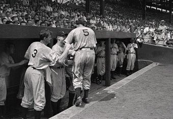 Joe DiMaggio Being Congratulated, June 29, 1941