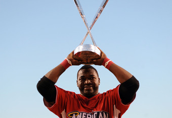 ANAHEIM, CA - JULY 12:  American League All-Star David Ortiz #34 of the Boston Red Sox winner of the 2010 State Farm Home Run Derby during All-Star Weekend at Angel Stadium of Anaheim on July 12, 2010 in Anaheim, California.  (Photo by Lisa Blumenfeld/Get