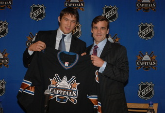 WASHINGTON, DC - SEPTEMBER 1:  Alexander Ovechkin, the Washington Capitals 2004 first round draft pick, is introduced at a press conference with George McPhee vice president and general manager on September 1, 2005 at the MCI Center in Washington, DC.  (P