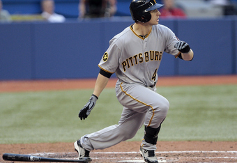 TORONTO, CANADA - JUNE 28:  Alex Presley #44 of the Pittsburgh Pirates hits his third RBI during MLB action against the Toronto Blue Jays at the Rogers Centre June 28, 2011 in Toronto, Ontario, Canada. (Photo by Abelimages/Getty Images)