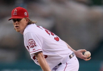 ANAHEIM, CA - JULY 02:  Jered Weaver #36 of the Los Angeles Angels of Anaheim pitches against the Los Angeles Dodgers at Angel Stadium of Anaheim on July 2, 2011 in Anaheim, California.  (Photo by Jeff Gross/Getty Images)