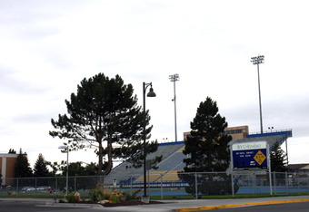 The mothballed stadium at BYU-Idaho in Rexburg sits empty and rarely used with no athletic programs at the school.