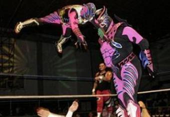 The little man in the air is Cuije who is more than a Luchador; he's also a lethal weapon.