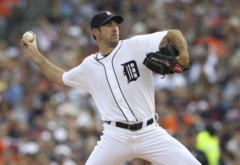 DETROIT - JUNE 25: Justin Verlander #35 of the Detroit Tigers pitches in the second inning of the game aginst the Arizona Diamondbacks at Comerica Park on June 25, 2011 in Detroit, Michigan.  (Photo by Leon Halip/Getty Images)