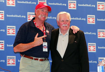COOPERSTOWN, NY - JULY 26:  Hall of Fame inductees Rich 'Goose' Gossage (L) and Dick Williams pose for a photo after a press conference at the Cooperstown Central School during the Baseball Hall of Fame weekend on July 26, 2008 in Cooperstown, New York.