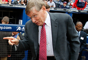 ATLANTA, GA - MAY 15:  MLB Commissioner Bud Selig converses with Civil Rights leader Rev. Joseph Lowery prior to the Civil Rights game between the Atlanta Braves and the Philadelphia Phillies at Turner Field on May 15, 2011 in Atlanta, Georgia.  (Photo by