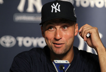 NEW YORK, NY - JULY 09:  Derek Jeter #2 of the New York Yankees talks to the media after hitting the 3000th hit of his career at Yankee Stadium on July 9, 2011 in the Bronx borough of New York City.  (Photo by Nick Laham/Getty Images)