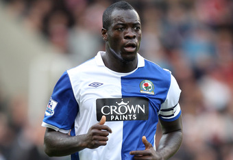 STOKE ON TRENT, ENGLAND - OCTOBER 02:  Christopher Samba of Blackburn Rovers in action during the Barclays Premier League match between Stoke City and Blackburn Rovers at the Britannia Stadium on October 2, 2010 in Stoke on Trent, England.  (Photo by Mark