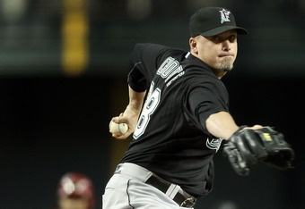 PHOENIX, AZ - JUNE 01:  Relief pitcher Randy Choate #38 of the Florida Marlins pitches against the Arizona Diamondbacks during the Major League Baseball game at Chase Field on June 1, 2011 in Phoenix, Arizona. The Diamondbacks defeated the Marlins 6-5.  (