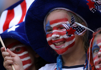 DRESDEN, GERMANY - JULY 10:  A supporter of USA cheer before the FIFA Women's World Cup 2011 Quarter Final match between Brazil and USA at Rudolf-Harbig-Stadion on July 10, 2011 in Dresden, Germany.  (Photo by Martin Rose/Getty Images)