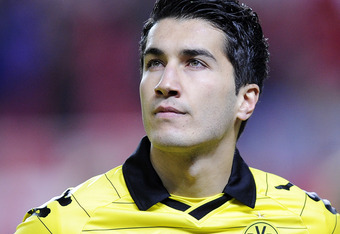 SEVILLE, SPAIN - DECEMBER 15:  Nuri Sahin of Borussia Dortmund looks on prior the UEFA Europa League group J match between Sevilla and Borussia Dortmund at Estadio Ramon Sanchez Pizjuan on December 15, 2010 in Seville, Spain. The match ended 2-2.  (Photo
