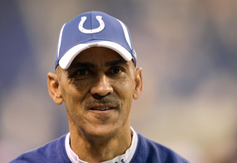 INDIANAPOLIS - DECEMBER 07:  Head coach Tony Dungy of the Indianapolis Colts celebrates as he runs off the field after their 35-3 win against the Cincinnati Bengals at Lucas Oil Stadium on December 7, 2008 in Indianapolis, Indiana.  (Photo by Andy Lyons/G