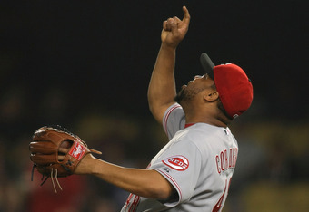 LOS ANGELES, CA - JUNE 13:  Pitcher Francisco Cordero #48 of the Cincinnati Reds celebrates after getting the third out in the ninth inning to win the game 6-4 against the Los Angeles Dodgers during the MLB game at Dodger Stadium on June 13, 2011 in Los A