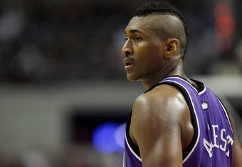 AUBURN HILLS, MI - JANUARY 20:  Ron Artest #93 of the Sacramento Kings looks on during a game against the Detroit Pistosn on January 20, 2007 at the Palace of Auburn Hills in Auburn Hills, Michigan. Detroit won the game 91-74. NOTE TO USER: User expressly