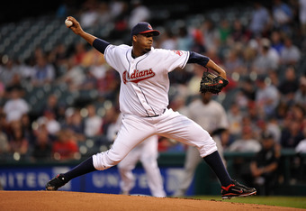 CLEVELAND, OH - JUNE 20:  Fausto Carmona #55 of the Cleveland Indians pitches against the Colorado Rockies at Progressive Field on June 20, 2011 in Cleveland, Ohio.  (Photo by Jamie Sabau/Getty Images)