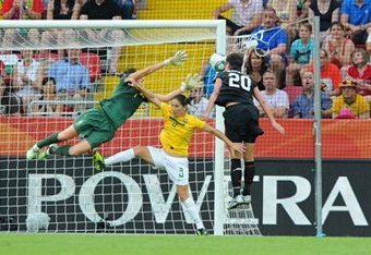 Abby Wambach scores in the 122nd minute to tie the match Sunday vs. Brazil | Courtesy of US Soccer