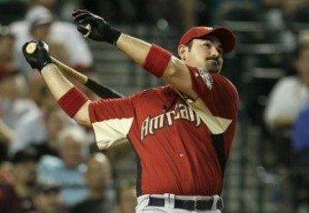 Adrian Gonzalez hitting one of his 31 during the 2011 Homerun Derby.