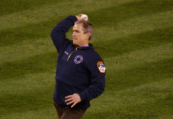 30 Oct 2001: President George W. Bush throws out the ceremonial first pitch before game 3 of the World Series between the New York Yankees and the Arizona Diamondbacks at Yankee Stadium in New York, New York. The Yankees defeated the Diamondbacks 2-1. DIG