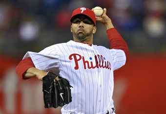 PHILADELPHIA, PA - APRIL 15: J.C. Romero #16 of the Philadelphia Phillies delivers a pitch in relief of the the injured Roy Oswalt #44 during the game against the Florida Marlins at Citizens Bank Park on April 15, 2011 in Philadelphia, Pennsylvania. The M