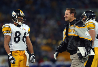 16 Dec 2001 : Hines Ward #86 of the Pittsburgh Steelers talk to head coach Bill Cowher during the game against the Baltimore Ravens at PSINet Stadium in Baltimore, Maryland. The Steelers defeated the Ravens 26-2, clinching the AFC Central Championship . D