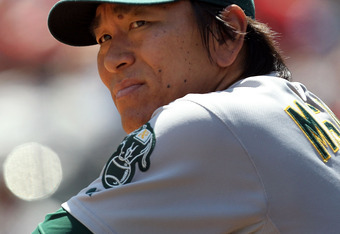 ARLINGTON, TX - JULY 10:  Hideki Matsui #55 of the Oakland Athletics at Rangers Ballpark in Arlington on July 10, 2011 in Arlington, Texas.  (Photo by Ronald Martinez/Getty Images)